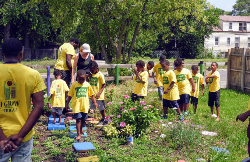Children Using Peace Garden During Summer Camp